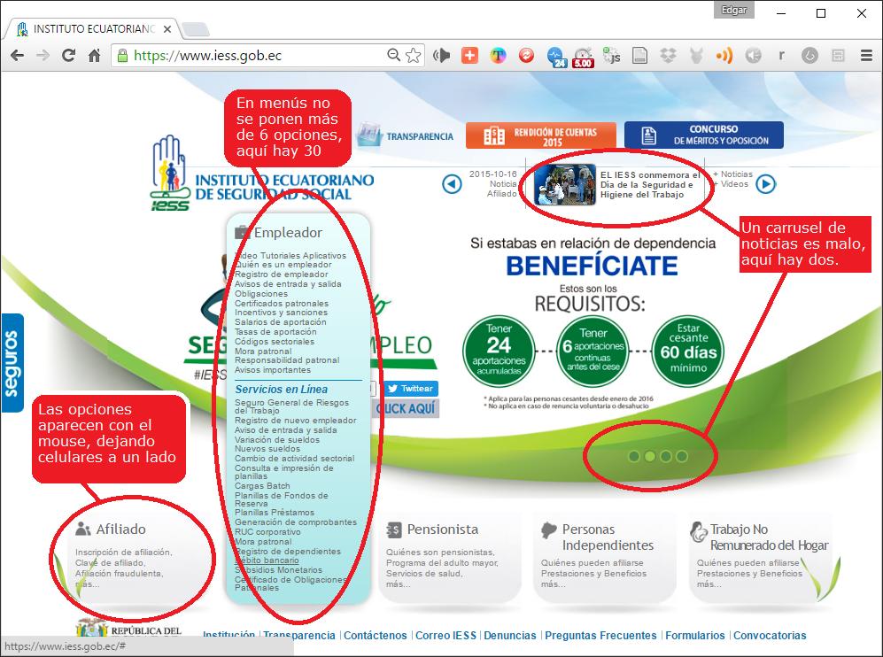 Ejemplos de mala usabilidaden el sitio Web del IESS
