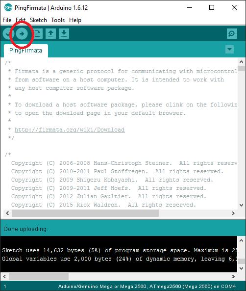 Ping Firmata cargado a través del Arduino IDE