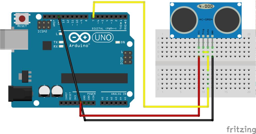 Esquema para la conexión entre el Arduino Mega y el sensor ultrasónico de distancia HC-SR04