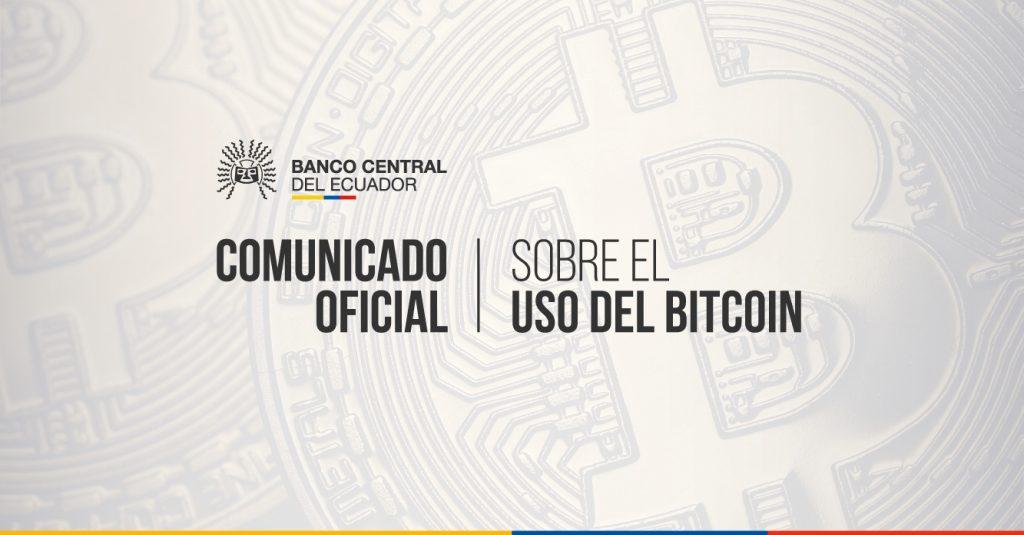 banner de comunicado oficial del Banco Central del Ecuador sobre el uso del bitcoin